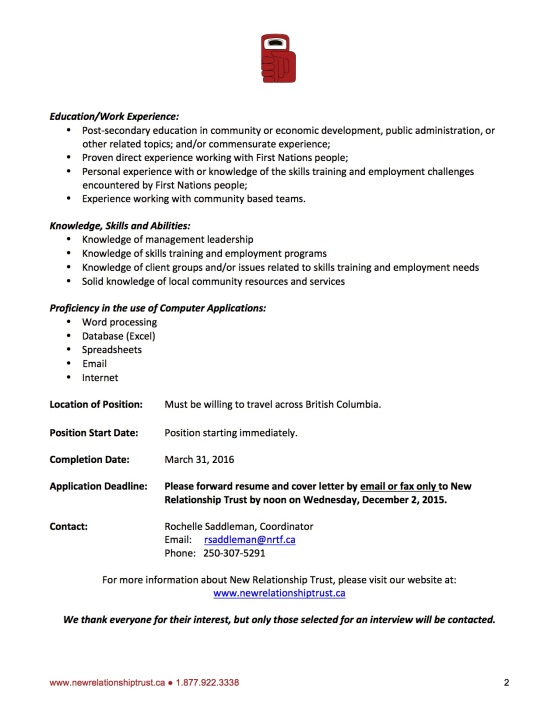 NRT Job Posting - Fort St. John Aboriginal Labour Market Community Navigator_Closing Dec 2_2015 2.jpg