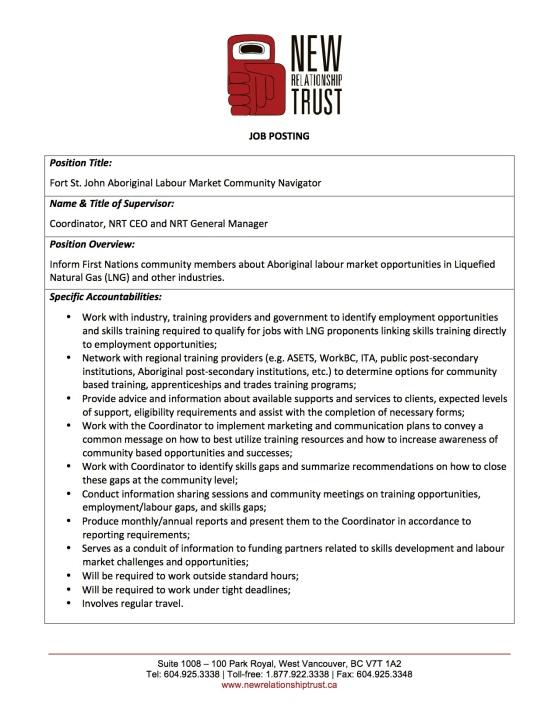 NRT Job Posting - Fort St. John Aboriginal Labour Market Community Navigator_Closing Dec 2_2015.jpg