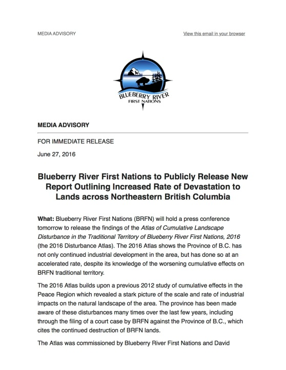 Media Advisory: Blueberry River First Nations to Publicly Release New Report Outlining Increased Rate of Devastation to Lands across Northeastern BC.jpg