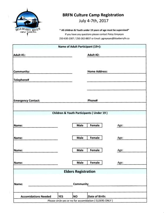 Registration Form | Blueberry River
