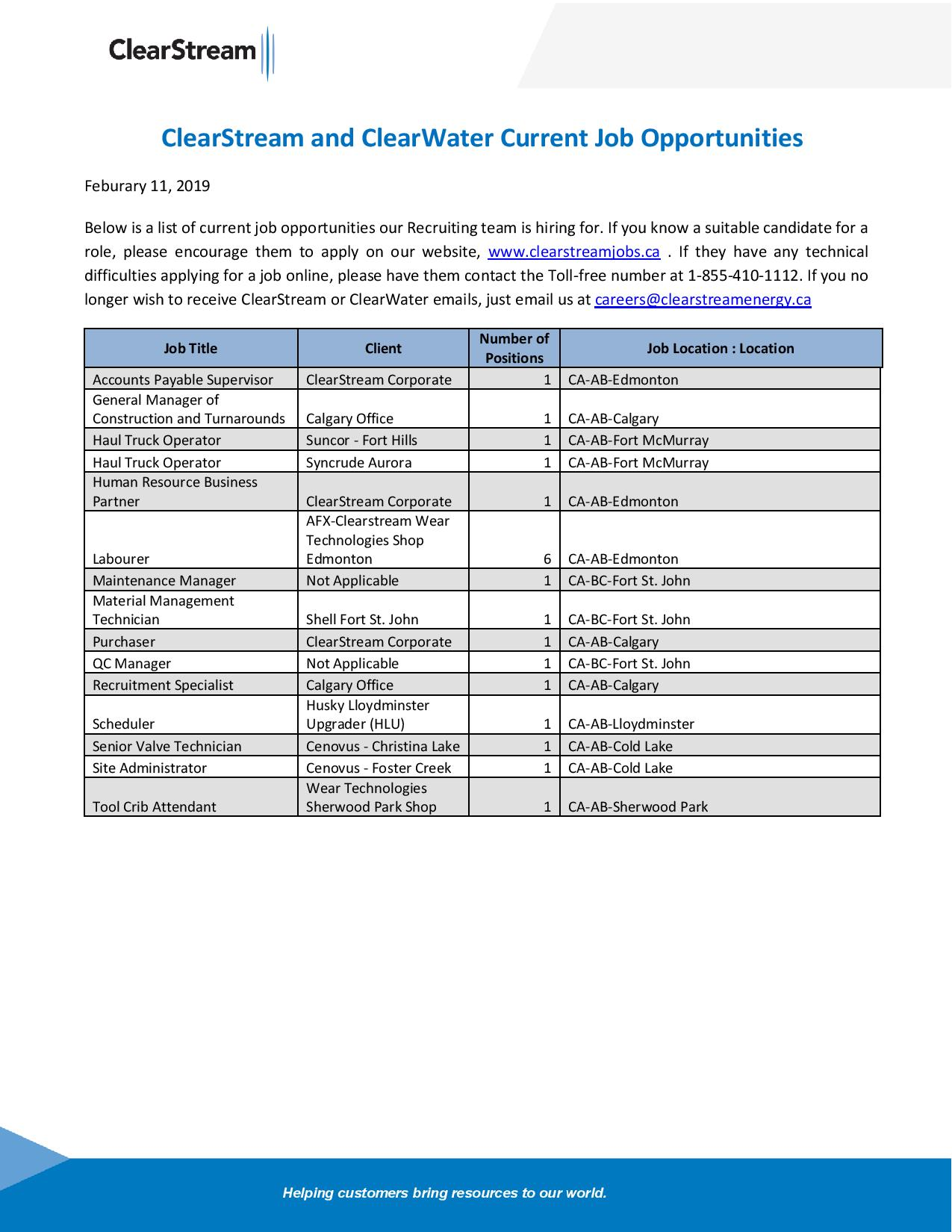ClearStream and ClearWater Current Job Opportunities Feb 11 2019-page-001