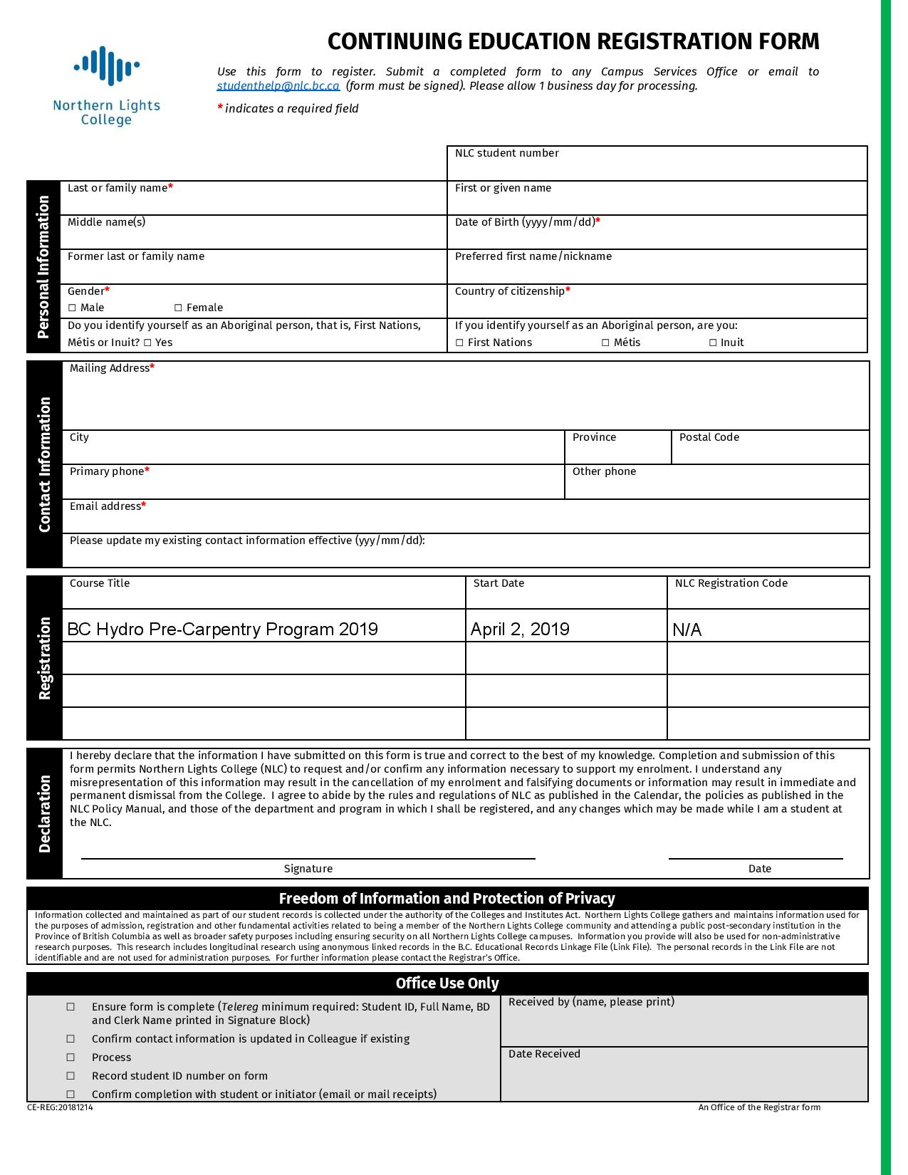 Pre-Carpentry Skills Pilot Program - Registration Form-page-001