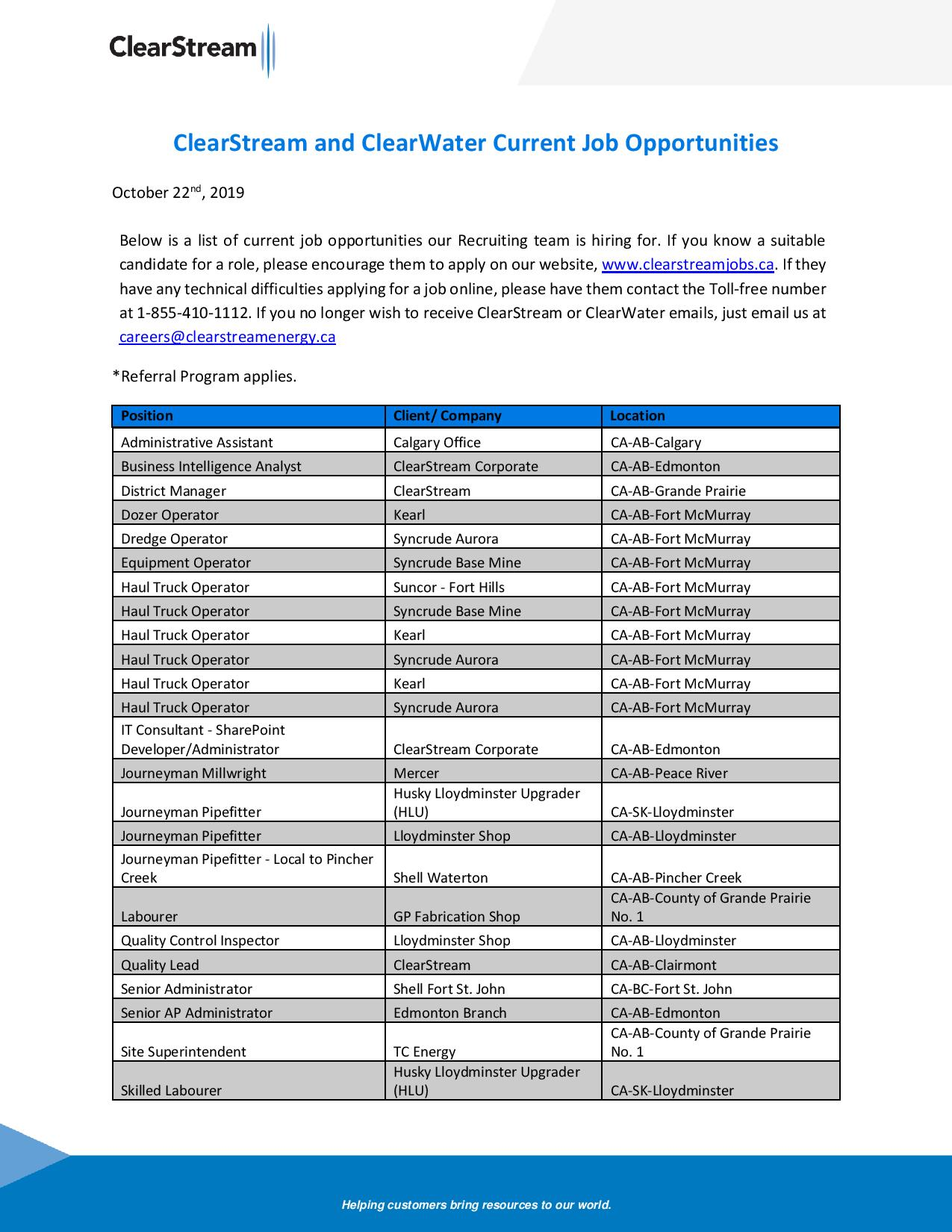 ClearStream and ClearWater Current Job Opportunities October 22nd 2019-page-001