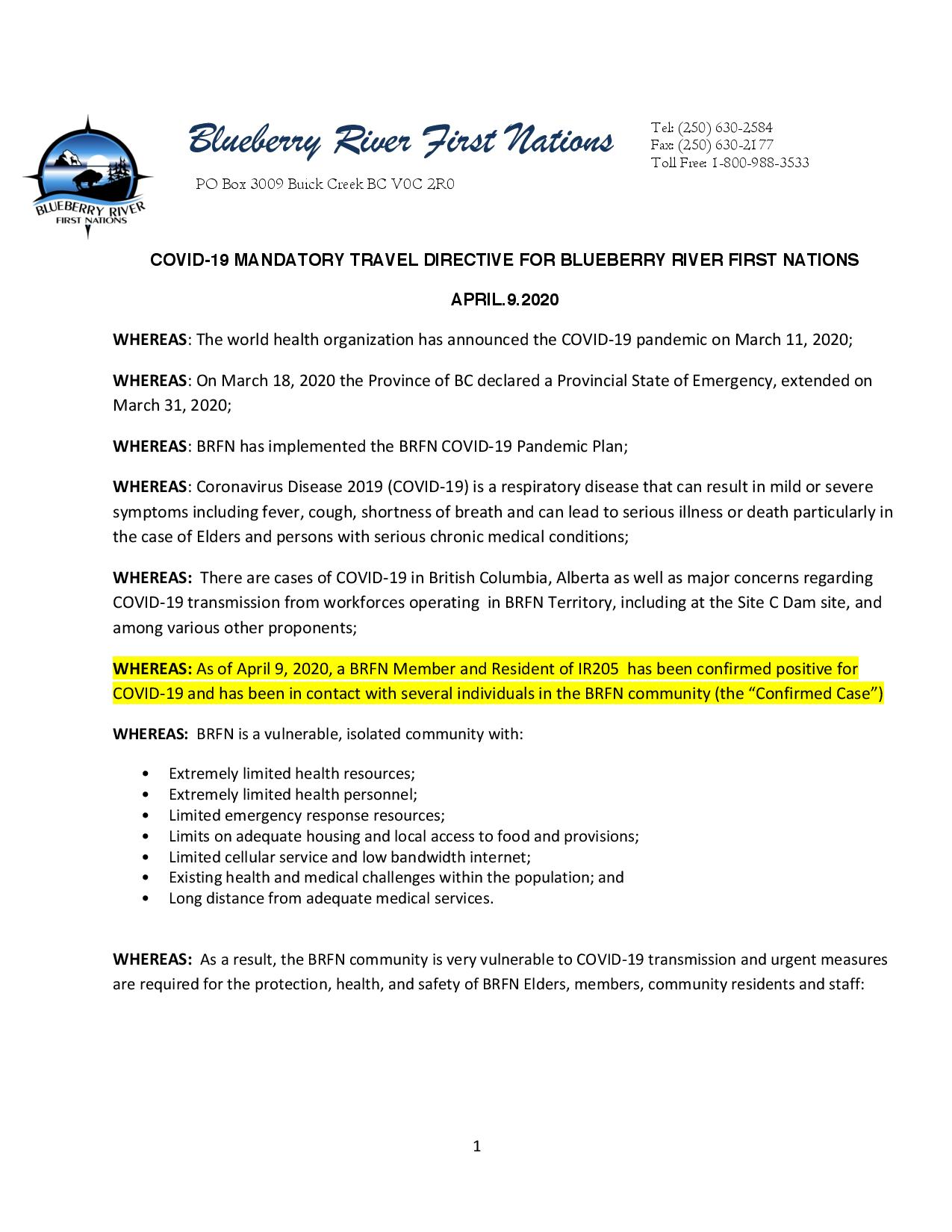 PAGE 1- 2020-04-08 BRFN Travel Advisory Amended Apr.9.20 re Outbreak in the Community FINAL